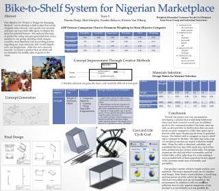 Bike-to-Shelf System for Nigerian Marketplace