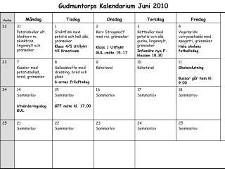Gudmuntorps Kalendarium Juni 2010