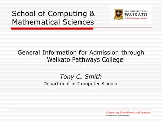 School of Computing & Mathematical Sciences