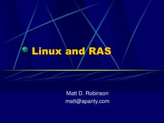 Linux and RAS