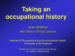 Taking an occupational history