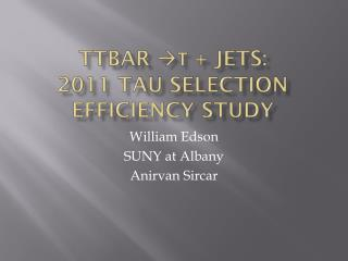 TTbar  τ  + jets : 2011 Tau Selection Efficiency Study