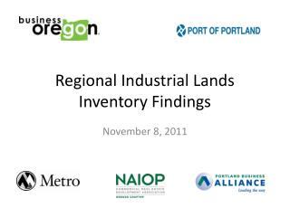 Regional Industrial Lands Inventory Findings