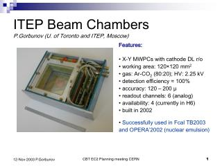 ITEP Beam Chambers P.Gorbunov (U. of Toronto and ITEP, Moscow)