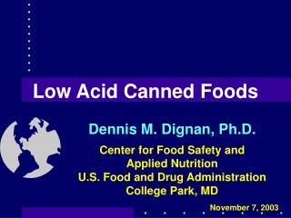Low Acid Canned Foods