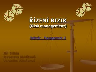 ŘÍZENÍ RIZIK (Risk management) Referát – Management II