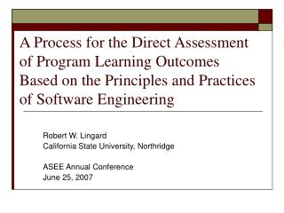 A Process for the Direct Assessment of Program Learning Outcomes Based on the Principles and Practices of Software Engin