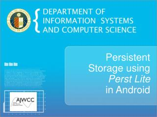 Persistent  Storage using Perst Lite  in Android