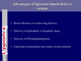 Advantages of liposome-based delivery system