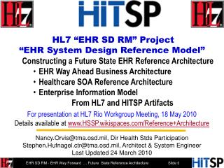 HL7 �EHR SD RM� Project  �EHR System Design Reference Model�