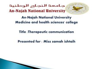 An- Najah  National University Medicine and health sciences' college