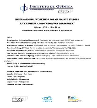 INTERNATIONAL WORKSHOP FOR GRADUATE  STUDIES BIOCHEMITSRY AND CHEMISTRY DEPARTMENT