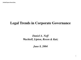 Legal Trends in Corporate Governance