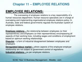 Chapter 11 – EMPLOYEE RELATIONS