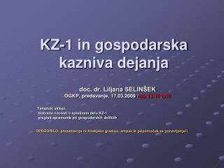 KZ-1 in gospodarska kazniva dejanja