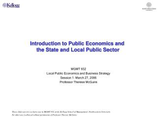 Introduction to Public Economics and  the State and Local Public Sector
