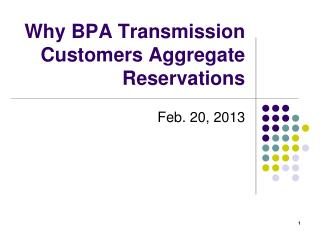 Why BPA Transmission Customers Aggregate Reservations