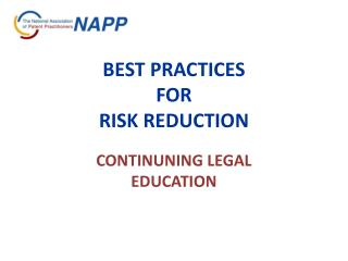 BEST PRACTICES  FOR  RISK REDUCTION