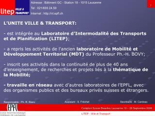 Responsable : Ph. R. Blanc