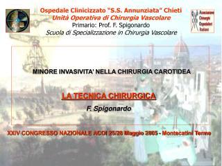 """Ospedale Clinicizzato """"S.S. Annunziata"""" Chieti Unità Operativa di Chirurgia Vascolare"""