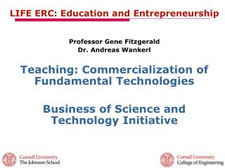 LIFE ERC: Education and Entrepreneurship