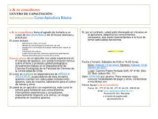 a & m consultores CENTRO DE CAPACITACIÓN Informa próximo Curso Apicultura Básica