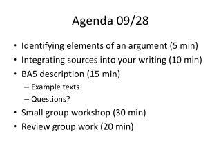 Agenda 09/28