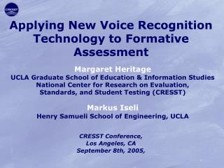 Applying New Voice Recognition Technology to Formative Assessment