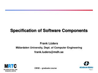 Specification of Software Components