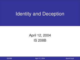 Identity and Deception