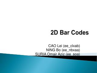2D Bar Codes