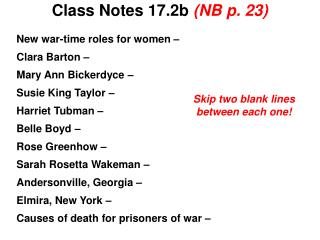 Class Notes 17.2b  (NB p. 23)