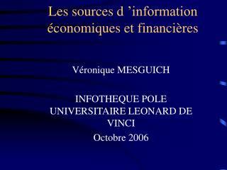 Les sources d  information  conomiques et financi res