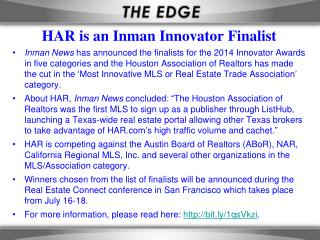 HAR is an Inman Innovator Finalist