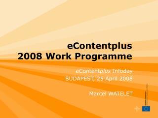 eContentplus  2008 Work Programme