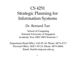 CS 4251 Strategic Planning for Information Systems