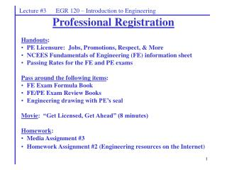 Lecture #3      EGR 120 – Introduction to Engineering