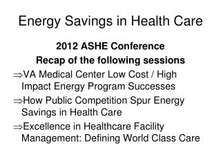 Energy Savings in Health Care