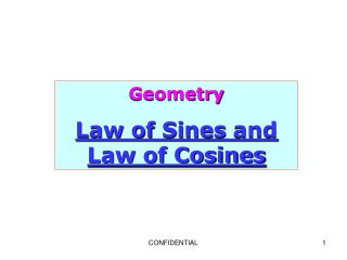 Geometry Law of  Sines  and Law of Cosines