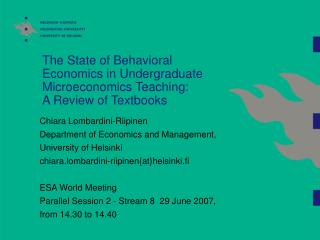 Chiara Lombardini-Riipinen  Department of Economics and Management, University of Helsinki