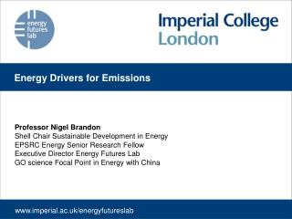 Professor Nigel Brandon Shell Chair Sustainable Development in Energy EPSRC Energy Senior Research Fellow Executive Dire