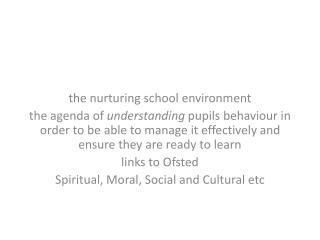 the  nurturing school  environment