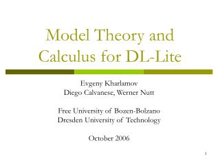 Model Theory and Calculus for DL-Lite