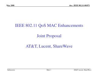 IEEE 802.11 QoS MAC Enhancements Joint Proposal AT&T, Lucent, ShareWave