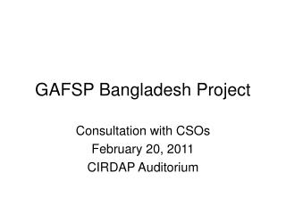GAFSP Bangladesh Project