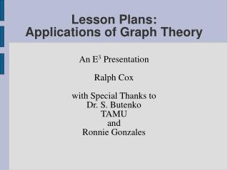 Lesson Plans:  Applications of Graph Theory