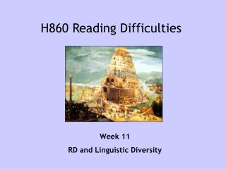 H860 Reading Difficulties
