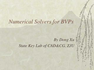 Numerical Solvers for BVPs