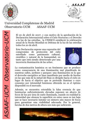 Universidad Complutense de Madrid Observatorio-UCM         ASAAF-UCM