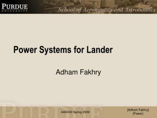 Power Systems for Lander